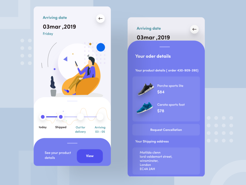 order details website flat space iphone animation today nice100 view ux ui shoe order branding typography design mobile app sudhan