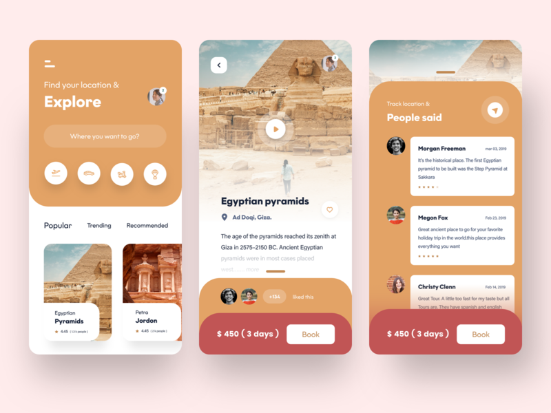 travel app experience - 2 review travel agency egyptian pyramid tourism icon people ui web animation ux she vector typography design ios mobile sudhan app travel app travel