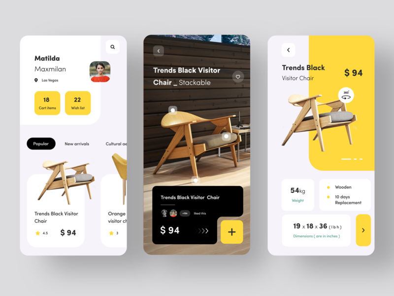 Furniture app experience apparel pricing furniture she dribbble add to cart online chair yellow animation vector logo branding typography web sudhan mobile illustration application app