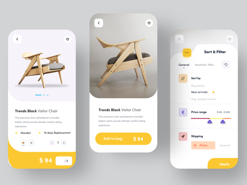 Furniture app experience - 2 animation nice100 filter chair e commerce furniture ps design branding vector ux logo typography iphone web sudhan illustration