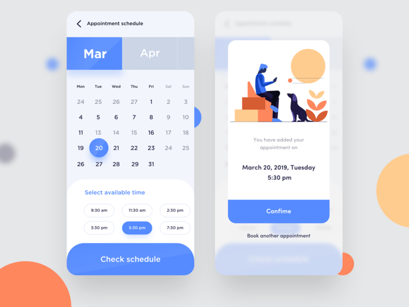 Appointment screens nice100 app design branding tuesday illustrations month check confirm schedule ux vector illustration typography web ps sudhan mobile appointment doctor