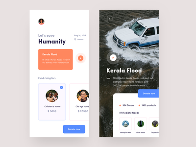Charity app concept apparel alms house children dribbble video icon logo nice100 web iphone typography illustration design app design sudhan natural calamity disaster flood charity app