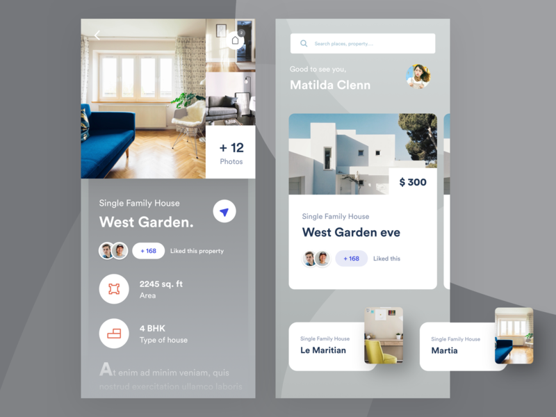 Home rental app home decor online price rent house home app vector branding typography iphone ios web design mobile illustration home screen home