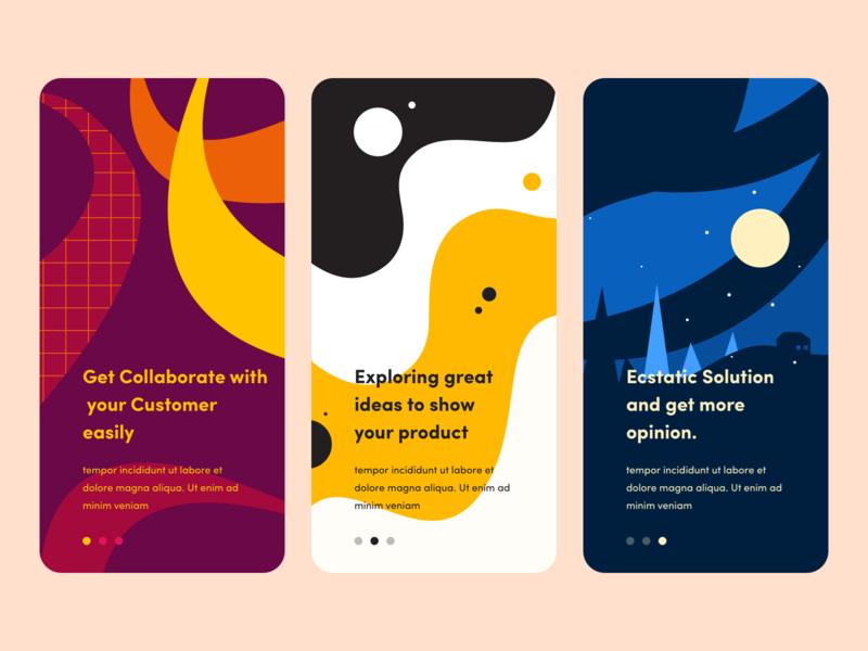 onboarding  Concept house pine tree moon pattern snake explore nike yellow night mode ui nice100 branding typography iphone ios web design mobile illustration sudhan