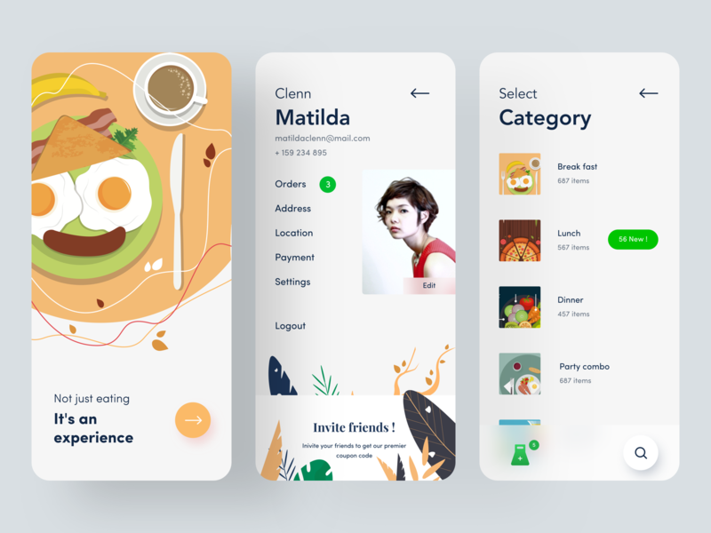 profile screen invite search experience address orders category dinner breakfast onboarding vector branding typography iphone ps web design mobile illustration food app food