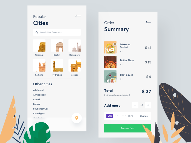 food app | search and order details design illustration outline order details orizon sudhan price summary proceed total search cities online checklist checkout summar order food order
