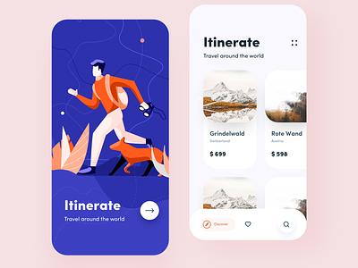 travel app concept discover lines search love illustrator world travel app branding typography ios app iphone web design mobile sudhan illustration