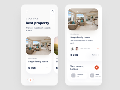 Real estate app review love like 3d single white location pricing rentals house logo nice100 branding typography ios iphone design sudhan app illustration