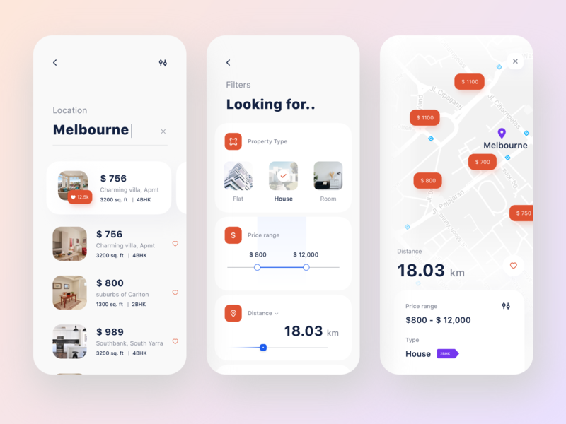 Rental app   search field location red rental media likes house price map sudhan neon web branding ps typography iphone design mobile illustration navigation bank