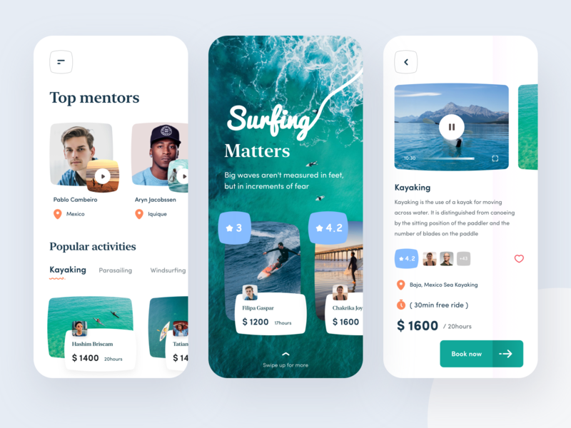 Surfing app hours parasailing dollar book mexico popular rating ui surface design branding she ios typography iphone design mobile illustration sudhan surreal surfing