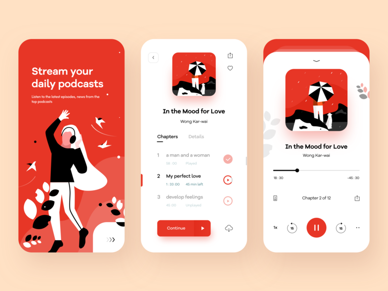 Podcasts app concept google youtube news songs color sudhan headphone nature birds music podcasts nice100 branding she ios typography iphone design mobile illustration