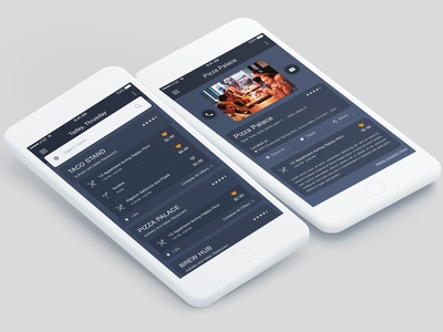 Restaurant Listing & Details Page Design with Deals/Offers restaurant offers modern minimal material screen listing list details flat design deals