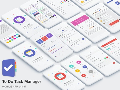 To Do Task Manager App UI Kit management business keep alarm reminder events calendar sticky notes list task to do