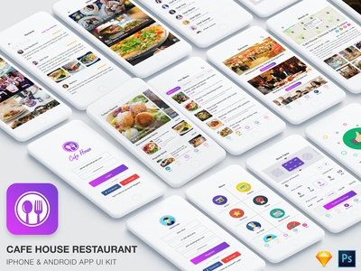 Cafe House Restaurant App UI Kit (Sketch & PSD) minimal illustration business cafe club bar fast food bakery coffee booking reservation restaurant
