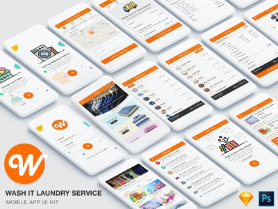 Wash It Laundry Service app UI Kit refer walk through pickup delivery iron app machine cloth laundry cleaning washing wash