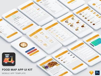 Food & Restaurant Ordering App Conecpt UI Kit food restaurant design app ui android vector iphone minimal delivery ordering premium