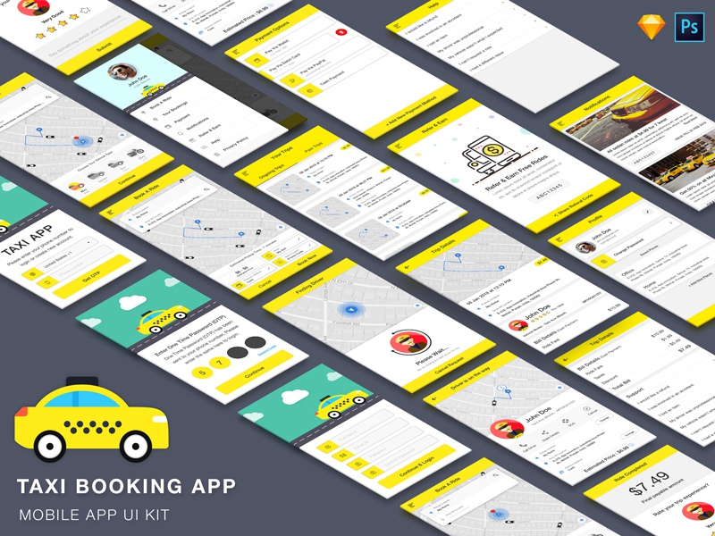 Taxi Booking App UI Kit by App Innovation on Dribbble