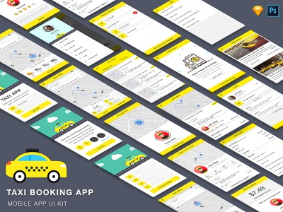 Taxi Booking App UI Kit driver rider book ola uber tracking share trip ride cab booking taxi
