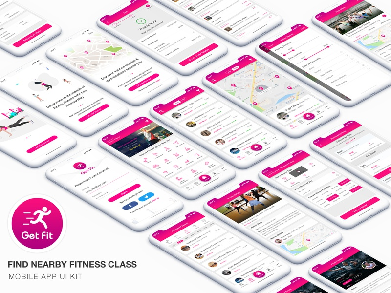 GET FIT - Find NearBy Fitness Classes App UI Kit ui kit ui  ux design hire trainer fitness classes gym workout fitness app kit ui fitness