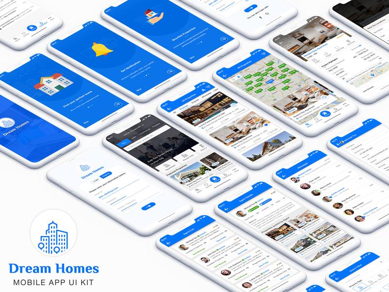 Real Estate app UI Kit dealer app design android ui kit sketch sale rent realtor real estate property map ios house app agent agency