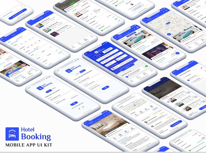 Hotel Booking App UI Kit iphone android ui kit app ui hotel app homestay hotel booking room booking restaurant hotel