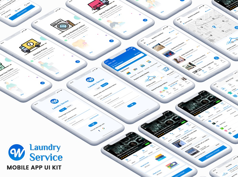 Wash It : Laundry App UI Kit washing ui kit shirt laundry psd ui kit laundry ui kit laundry service laundry app android psd laundry app laundry ironing iphone app ui kit psd ios app ui kit ios app design green ui kit dry cleaning commercial laundry collection  delivery