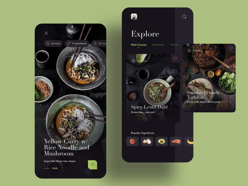 Chef at home dark mode ingredient recipe food dark card mobile app ux ui