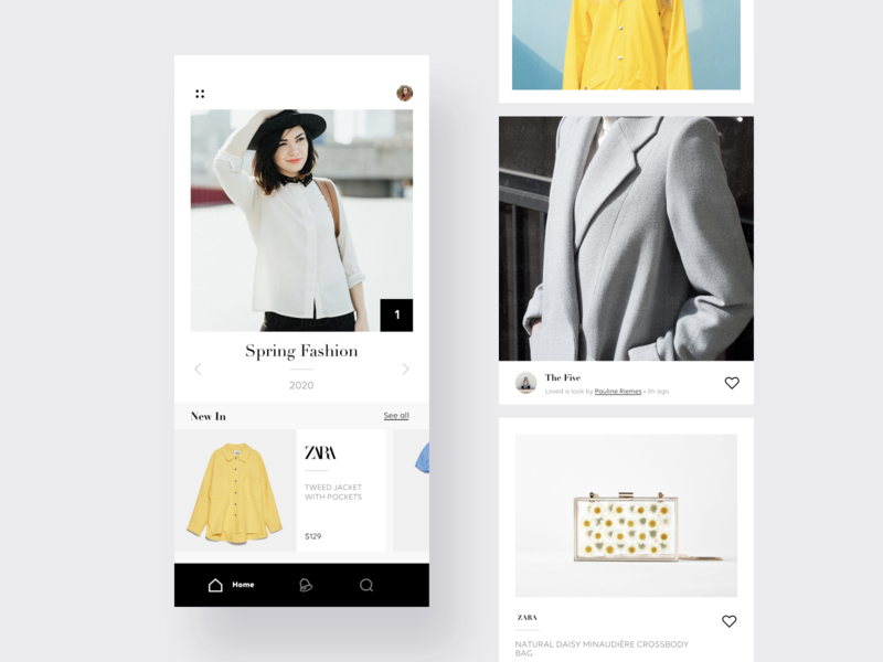 Fashion social app shop fashion design social card minimal mobile app ux ui