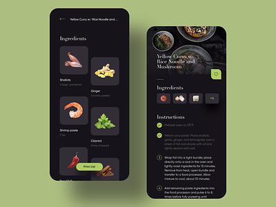 Chef at home recipe ingredient food dark card mobile app ux ui