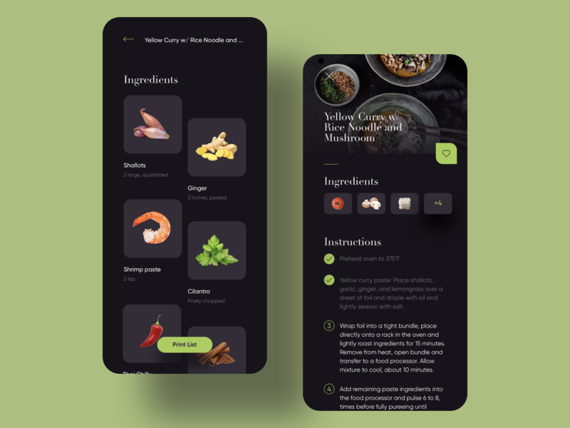 Chef at home recipe ingredient food dark card mobile app ux ui