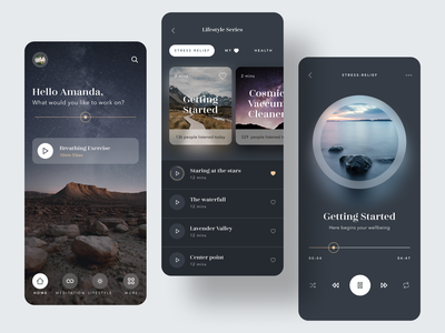 Moody meditation app player playlist calm meditation dark card minimal mobile app ux ui