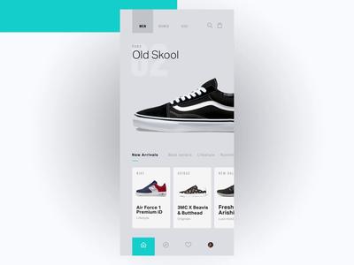 Snkrz interaction design vans adidas nike online shopping shop shoe ux mobile app ui