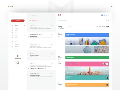 Gmail Calendar Redesign minimal flat agenda calendar email gmail google web ux ui