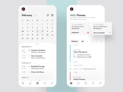 Schedule Manager for Students list minimal date calendar task college school schedule mobile app ux ui
