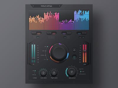 Audio Plugin process.audio sugar audio plugin audio color bars button fader music mixer mix equaliser eq dark app ux ui