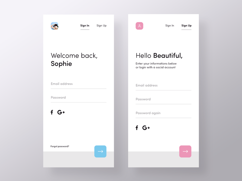 Sign in / up   Period Tracker account login sign up sign in social minimal mobile app ux ui