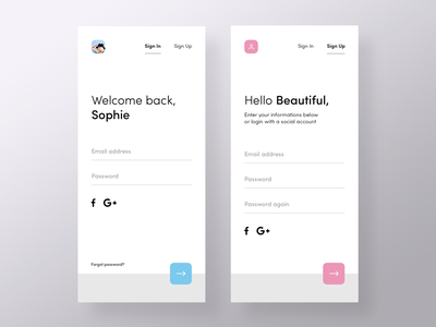 Sign in / up | Period Tracker account login sign up sign in social minimal mobile app ux ui