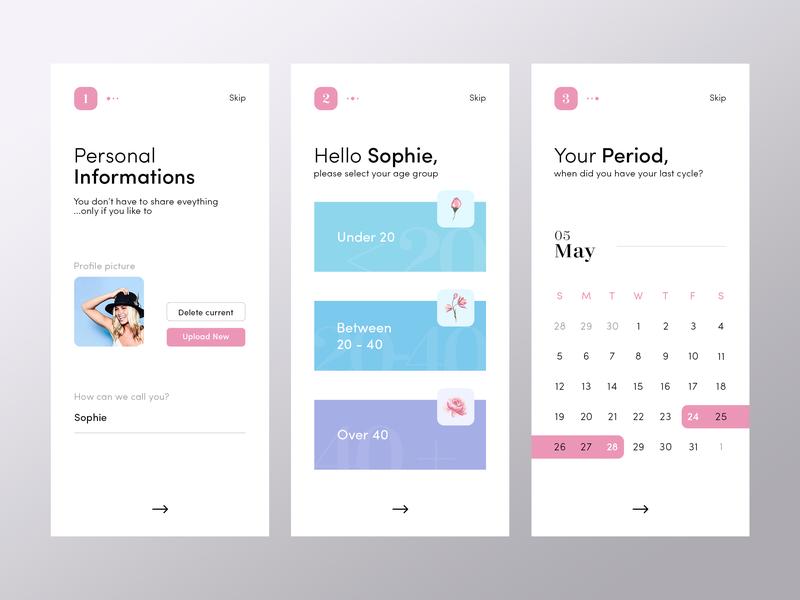 Registration / On-boarding | Period Tracker datepicker period tracker cycle period date social calendar minimal mobile app ux ui