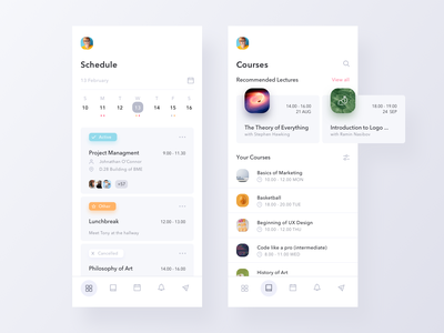 Schedule Manager for Students college course schedule card calendar minimal mobile app ux ui