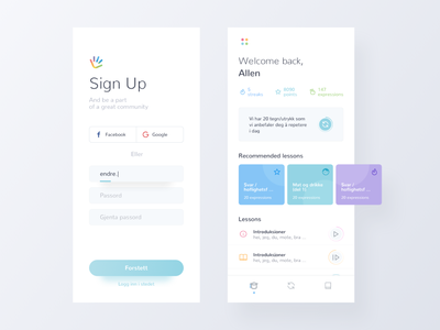 SignLab school student language learning signup signin education card minimal mobile app ux ui