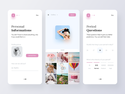 Period Tracker Onboarding 2 profile picture camera roll period cycle healthcare health woman calendar minimal mobile app ux ui