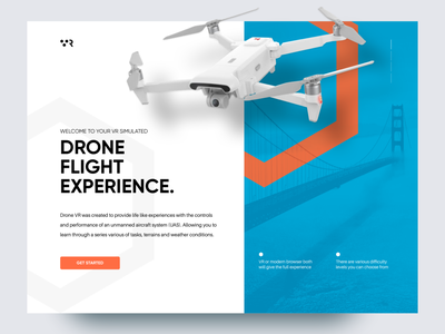 Drone VR landing webdesign ux ui bridge flight flying vr drone