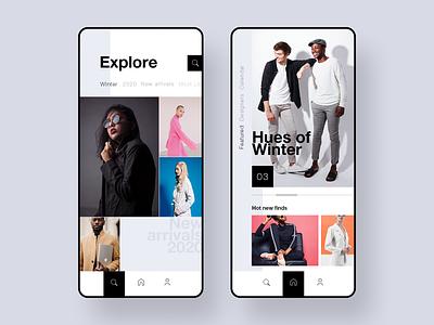 Hues shop clothing clothes fashion minimal mobile app ux ui