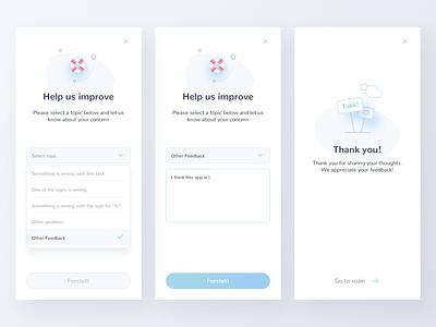 SignLab Feedback thank you dropdown feedback illustration minimal mobile app ux ui
