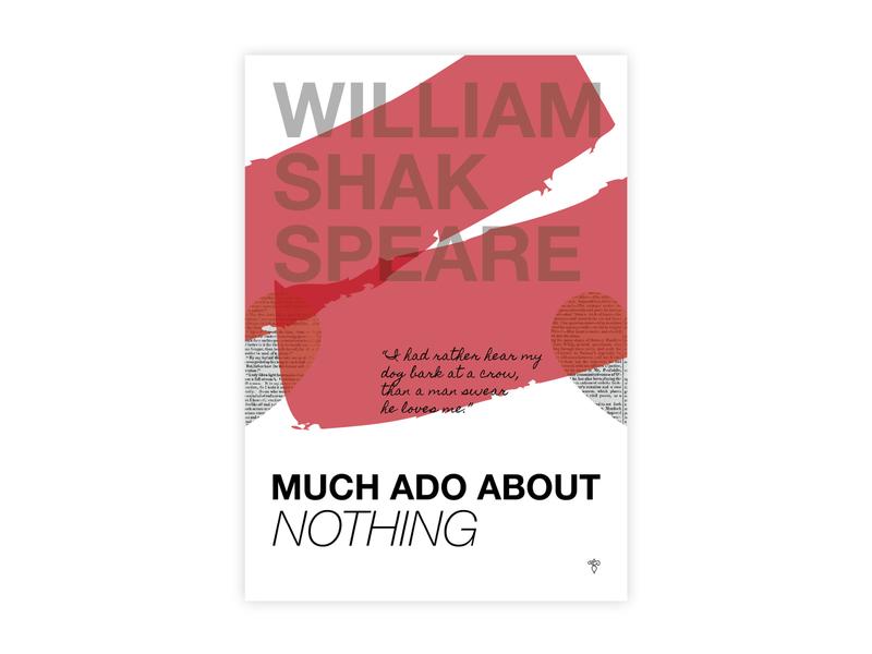 Much Ado About Nothing - Poster Design shakespeare much ado about noting helvetica poster challenge typography poster design minimal illustrator adobe graphic  design design