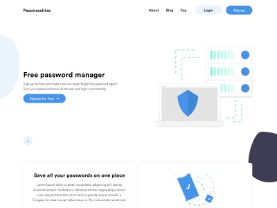 Passmaschine free password manager interface ui concept blue web webdesign password illustration download free download free adobe xd