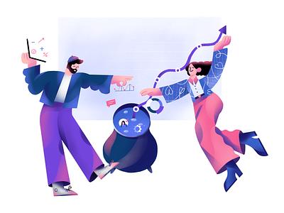 Linkedist girl illustrator magic potion charts startup denmark linkedin growth digital analytics branding illustration