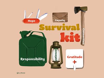 Survival kit patience health corona stayhome hope gratitude denmark aarhus lettering illustrator mental survival covid19