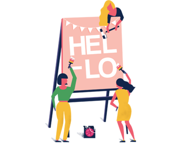 Hello Dribbble dribbble denmark aarhus debut firts-shot paint characters painting welcome illustration