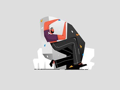 Bouldering design character vector high fear boulder sport climbing bouldering illustration